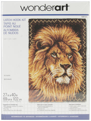 Wonderart Latch Hook Kit Lion 27inx40in