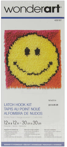 Wonderart Latch Hook Kit Smiley Face 12inx12in