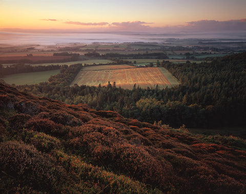 valley mist in autumn from the eildon hills in the scottish borders