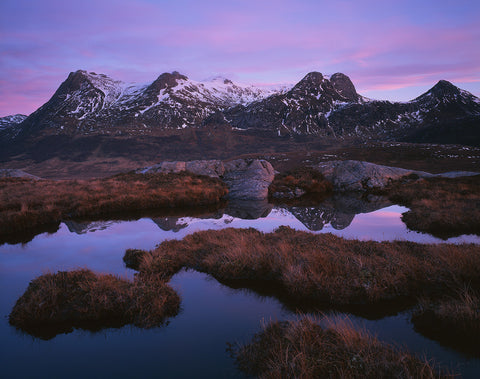 Ben Loyal mountain in Sutherland after sunset