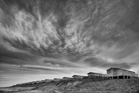 Caravans and dramatic cloud at Embo Beach Sutherland