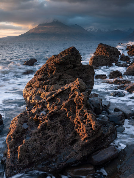 Cuillin Ridge from Elgol at sunset Isle of Skye