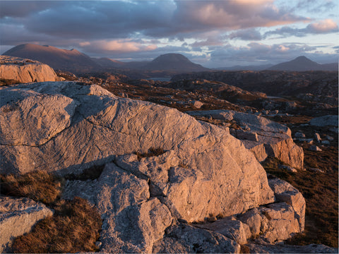 Foinaven, Arkle and Ben Stack mountains in Sutherland at sunset