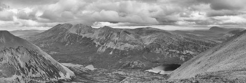 Panoramic black and white photograph of Foinaven mountain from Arkle mountain in Sutherland, Scotland