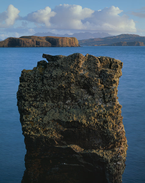 Harlosh sea stack and the Cuillin Ridge on the Isle of Skye