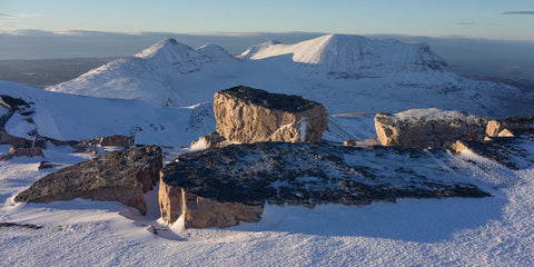 Quinag mountain in Assynt from Glas Bheinn in winter