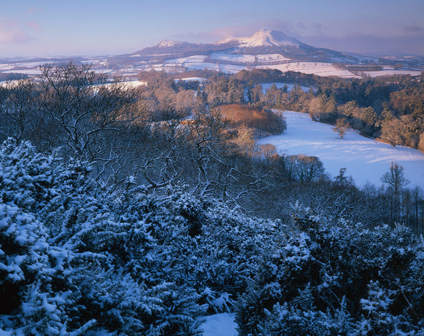 the eildon hills from scott's view in the scottish borders in winter