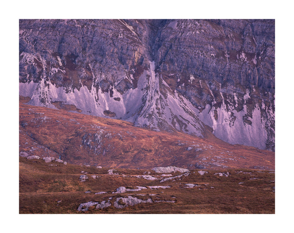 A detail photograph of scree patterns on the mountain Arkle in Sutherland