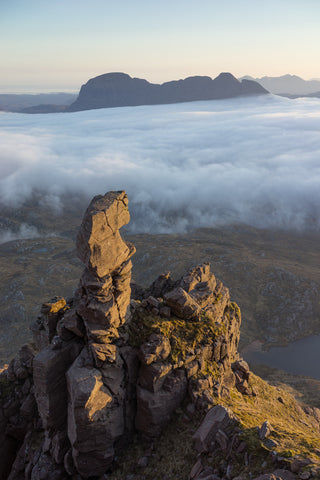 suilven mountain in assynt from pinnacle on cul mor in sutherland
