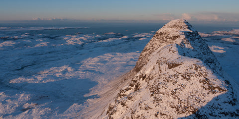 winter on suilven mountain in assynt, sutherland