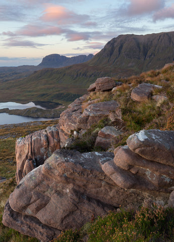 Twilight clouds over the mountains Suilven and Cul Mor