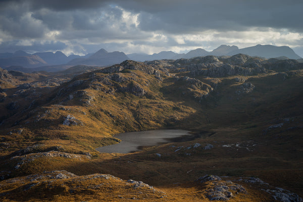 The dramatic mountains of Torridon and Flowerdale Forest near Poolewe in Wester Ross, Scotland