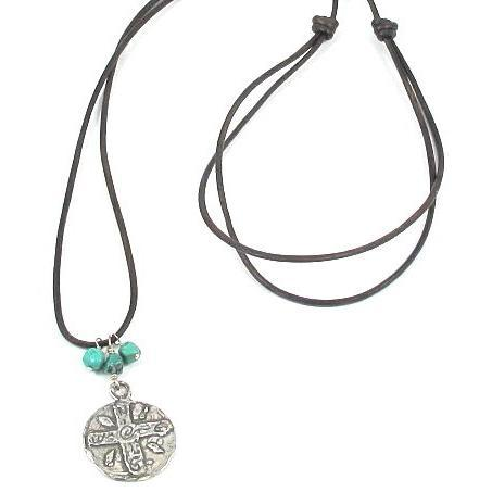 Long Adjustable Leather Necklace with Sterling Silver Pendant and Tuquoise