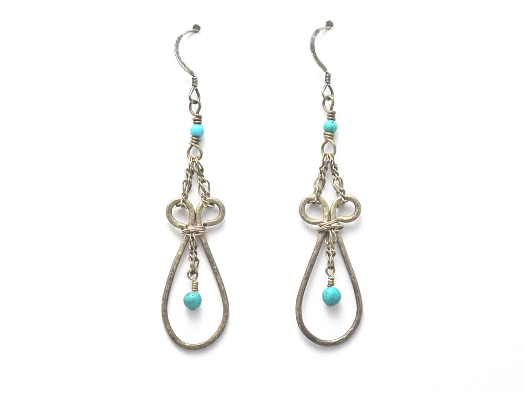 Antiqued Sterling Silver and Turquoise Dangle Earrings - Brenna Stone Jewelry