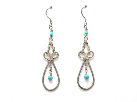 Dangle Earrings - Antiqued Hammered Sterling Silver Teardrop with Turquoise