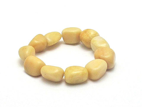 Golden Cream Quartz Nugget Stretch Bracelet - Brenna Stone Jewelry