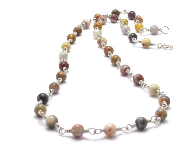 Sterling Silver and Old Crazy Lace Agate Necklace - Brenna Stone Jewelry