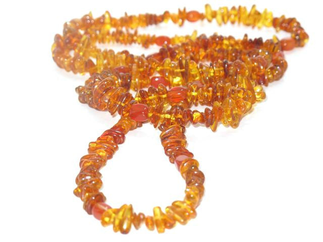 Long Amber and Carnelian Necklace - Brenna Stone Jewelry