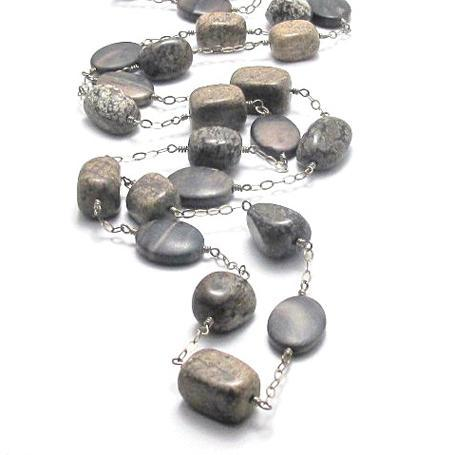 Long Jasper and Sterling Silver Linked Necklace - Brenna Stone Jewelry