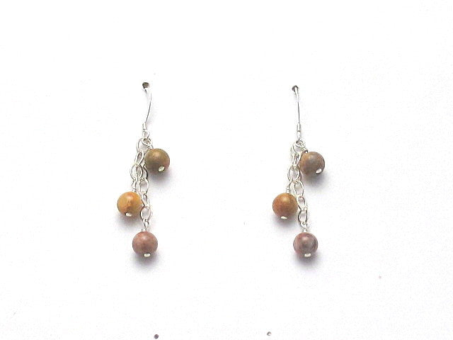 Old Crazy Lace Agate Dangle Earrings - Brenna Stone Jewelry