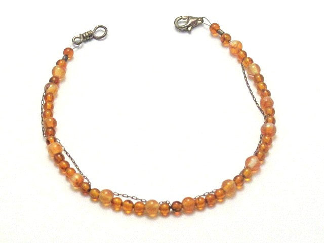 Sterling Silver Chain Draped Amber and Red Agate Bracelet - Brenna Stone Jewelry