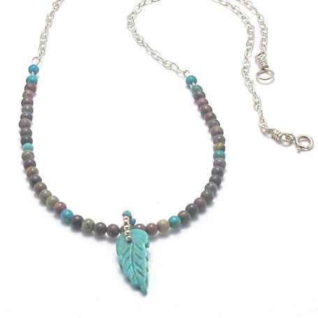 Sterling Silver Necklace with Turquoise and Crazy Horse Stone and Turquoise Leaf Pendant