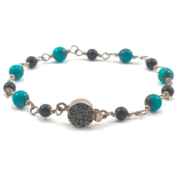 Sterling Silver, Turquoise, and Obsidian Bracelet - Brenna Stone Jewelry