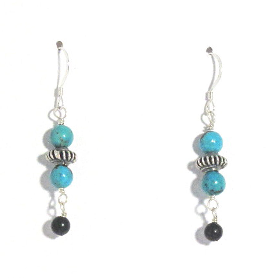 Sterling Silver, Turquoise, and Obsidian Earrings - Brenna Stone Jewelry