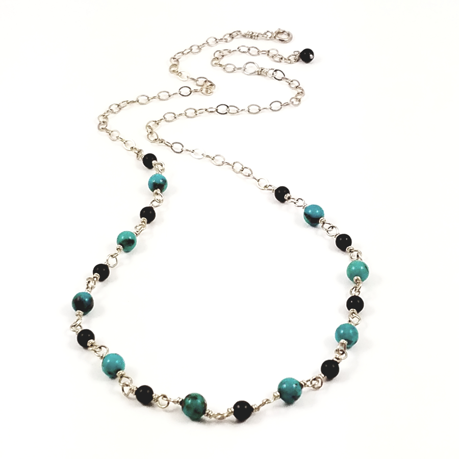 Sterling Silver, Turquoise, and Obsidian Necklace - Brenna Stone Jewelry