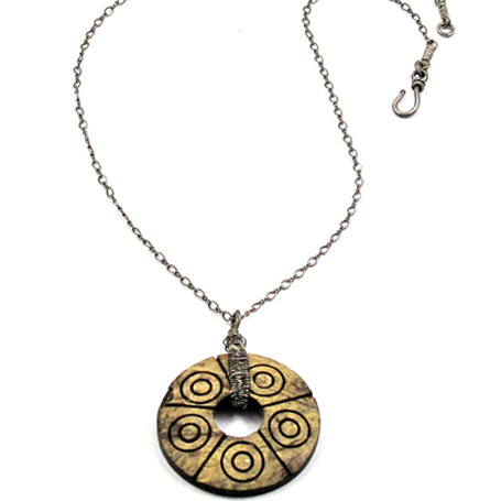 Sterling Silver Wrapped Wood Pendant Necklace