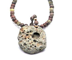 Beach Stone Pendant Necklace with Crazy Horse Stone - Brenna Stone Jewelry