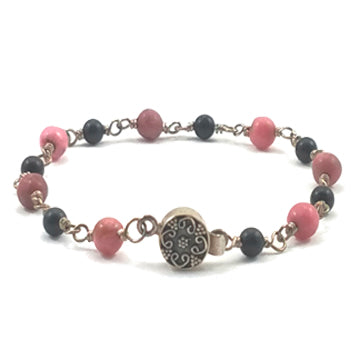 Sterling Silver, Rhodonite, and Obsidian Bracelet - Brenna Stone Jewelry