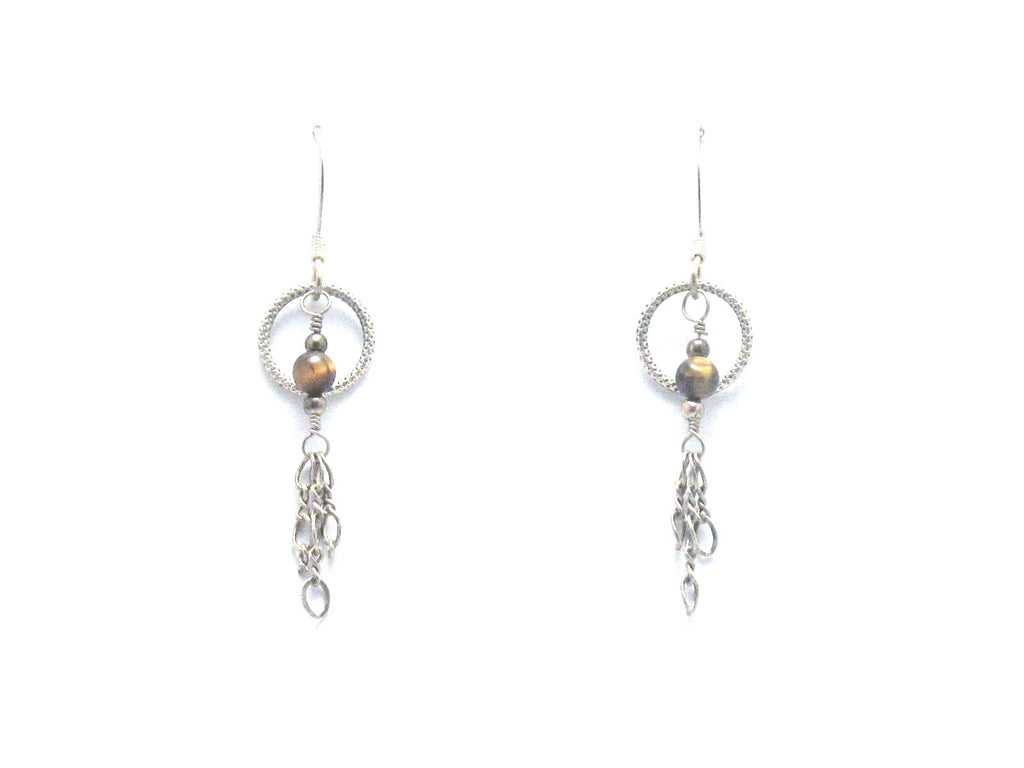Sterling Silver and Tigereye Dangle Earrings - Brenna Stone Jewelry