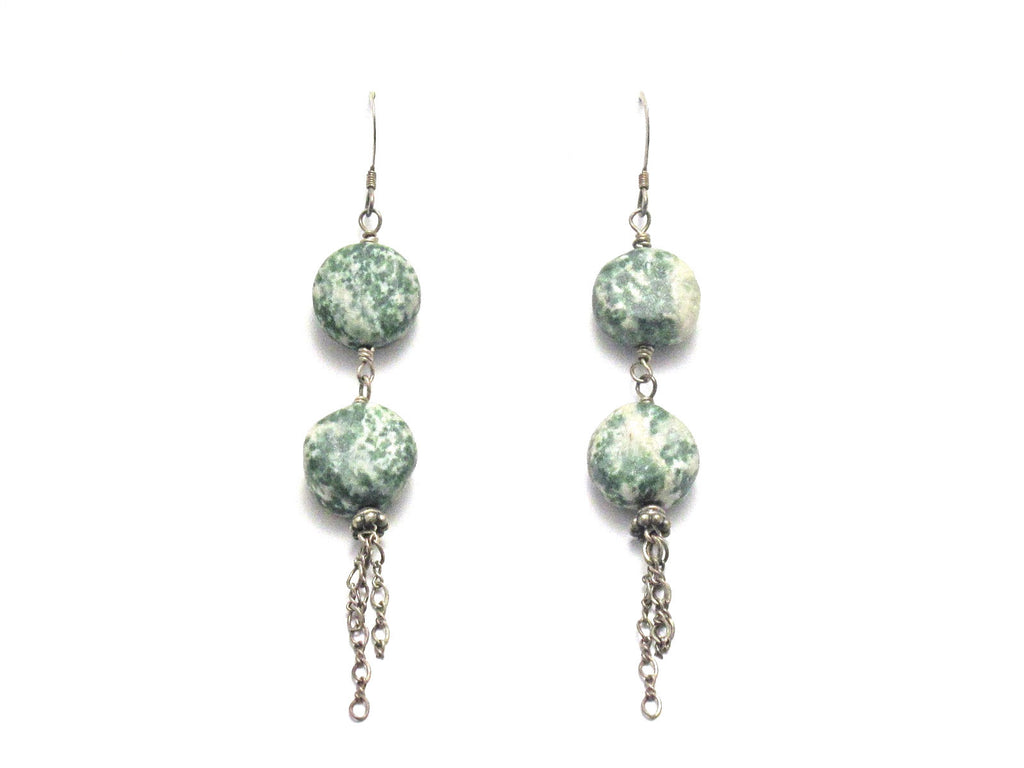 Sterling Silver Tree Agate Dangle Earrings - Brenna Stone Jewelry