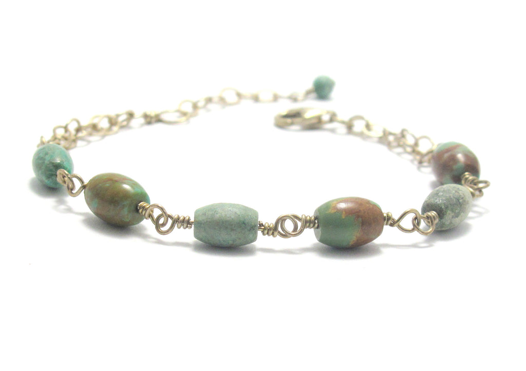 Turquoise and Antiqued Sterling Silver Bracelet - Brenna Stone Jewelry