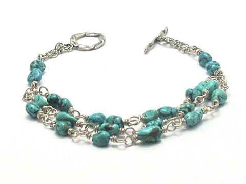 Sterling Silver and Turquoise Pebble Bracelet - Brenna Stone Jewelry