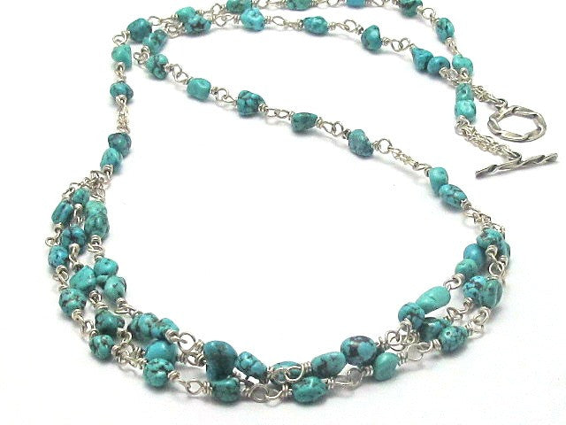 Sterling Silver and Turquoise Pebble Necklace - Brenna Stone Jewelry