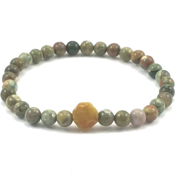 Rhyolite and Jadeite Stretch Bracelet - Brenna Stone Jewelry
