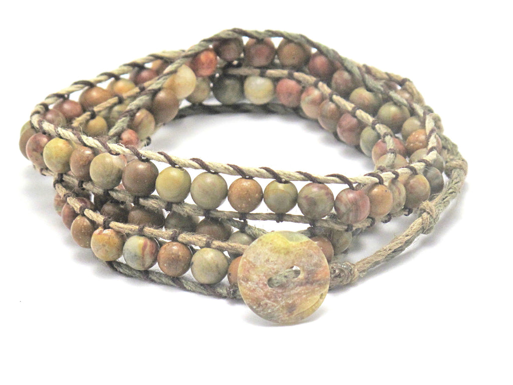 Hemp Wrap Bracelet with Harvest Stone - Brenna Stone Jewelry