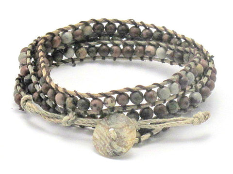 Hemp and Crazy Horse Stone Wrap Bracelet