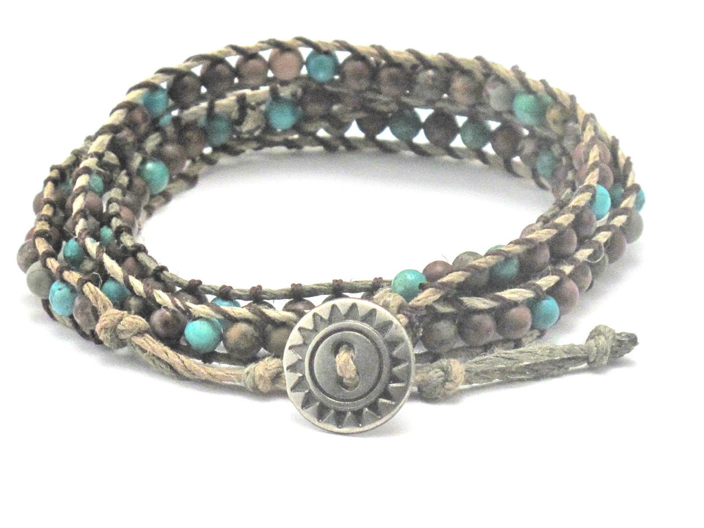 Hemp Wrap Bracelet with Turquoise and Crazy Horse Stone - Brenna Stone Jewelry