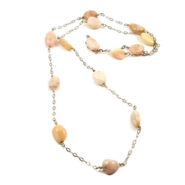 Long Natural Pink Opal Sterling Silver Chain Linked Necklace - Brenna Stone Jewelry