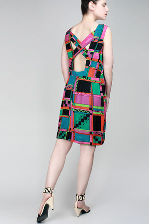 1980s Black Square Dress