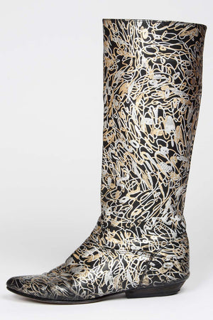 VINTAGE 1980s METALLIC LEATHER BOOTS SIDE