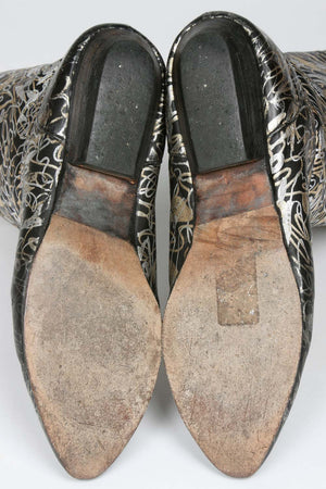 VINTAGE 1980s METALLIC LEATHER BOOTS SOLE
