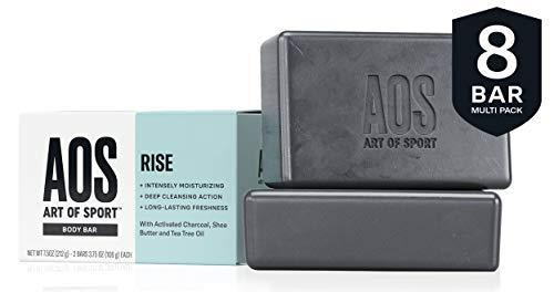 Art of Sport Body Bar Soap (8-Pack)| Rise Scent| with Activated Charcoal| Tea Tree Oil| and Shea Butter| 3.75 oz - beauty-price-match