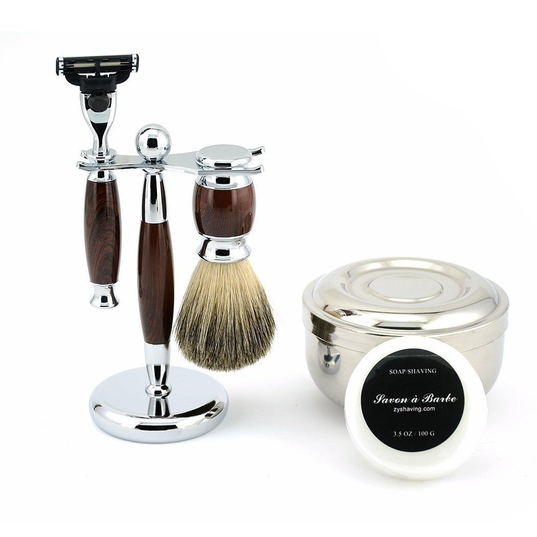 New Men Classy Wet Shaving Kit Safety Blade Razor Pure Badger Beard Brush Stand + Bowl Free Soap | BEAUTY PRICE MATCH™ - beauty-price-match