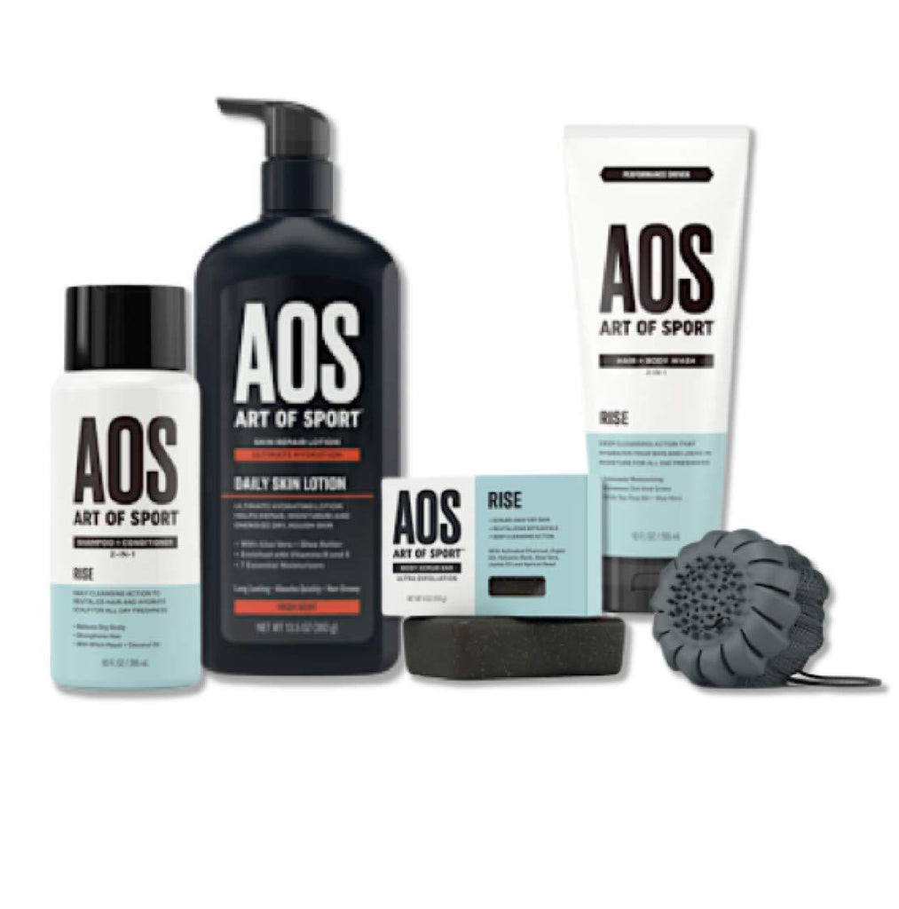 Art of Sport Shower Collection| Rise Scent| 5pc Skin and Body Care Set with 2-in-1 Shampoo and Conditioner| Body Wash| Exfoliating Bar Soap| Daily Skin Lotion| and Shower Scrub Tool (Rise) - beauty-price-match