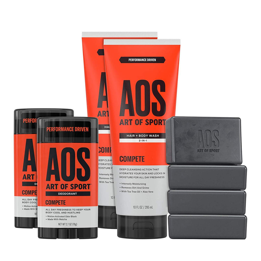 Art of Sport Athlete Collection| Rise Scent| 8pc Skin and Body Care Set with Aluminum-Free Deodorant| Body Wash| and Body Bar Soap - beauty-price-match