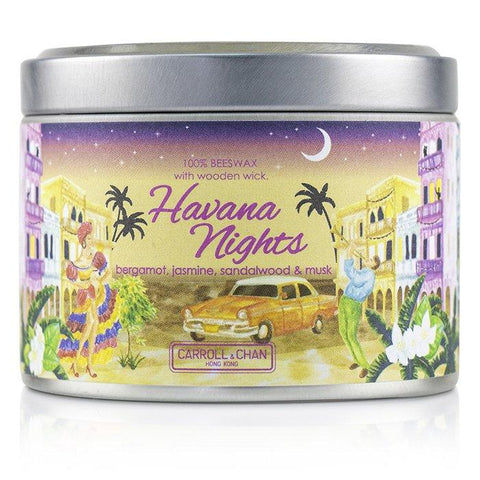 Tin Can 100% Beeswax Candle with Wooden Wick - Havana Nights - (8x5) cm